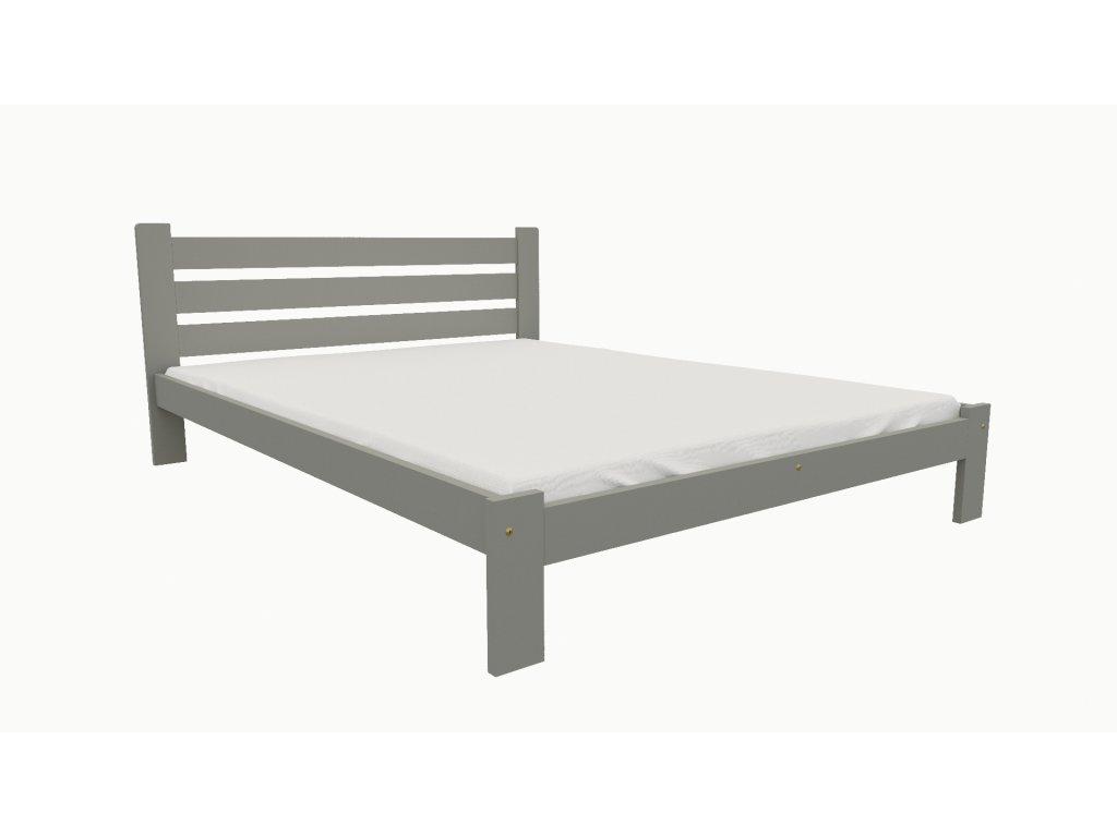 Drevená posteľ KV005 90x200 borovica masív - SIVÁ