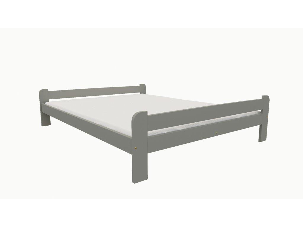 Drevená posteľ KV001 90x200 borovica masív - SIVÁ
