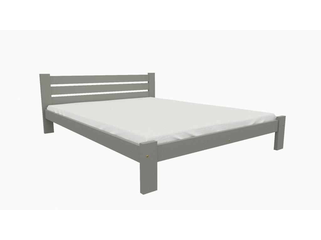 Drevená posteľ KV002 90x200 borovica masív - SIVÁ