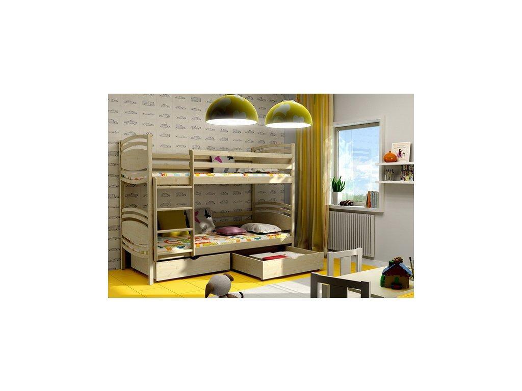 Poschodová posteľ PATRIK 001 80x180 cm borovica masív