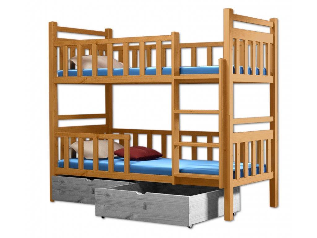Poschodová posteľ PAKO 009 80x180 cm borovica masív - JELŠA