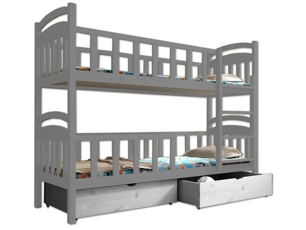 Poschodová posteľ PAULA 007 80x180 cm borovica masív - SIVÁ