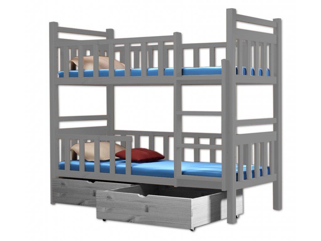 Poschodová posteľ PAKO 009 80x180 cm borovica masív - SIVÁ