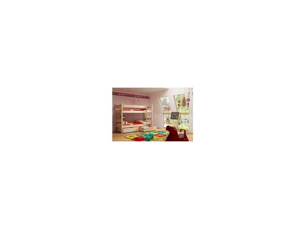Poschodová posteľ PETR 002 - 90x190 cm borovica masív