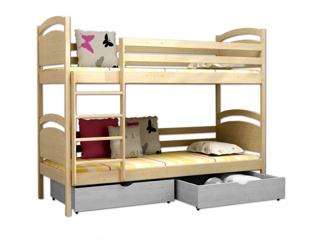 Poschodová posteľ POKER 006 90x190 cm borovica masív