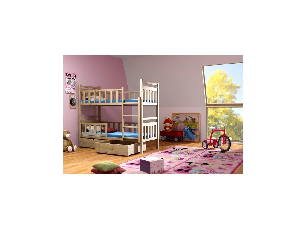 Poschodová posteľ PAKO 009 90x190 cm borovica masív