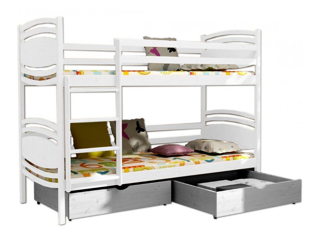 Poschodová posteľ PATRIK 001 90x190 cm borovica masív - BIELA