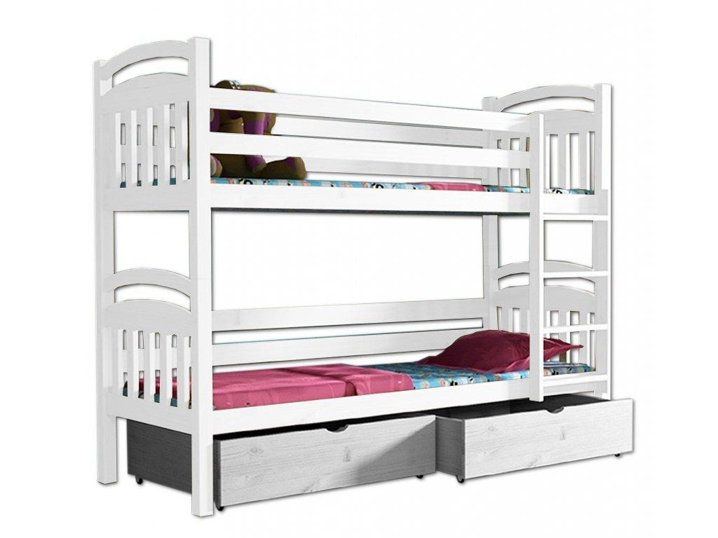 Poschodová posteľ PAVLA 003 90x190 cm borovica masív - BIELA
