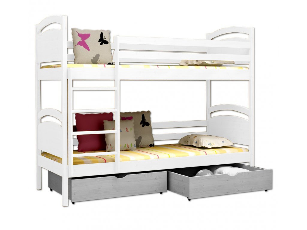 Poschodová posteľ POKER 006 90x190 cm borovica masív - BIELA
