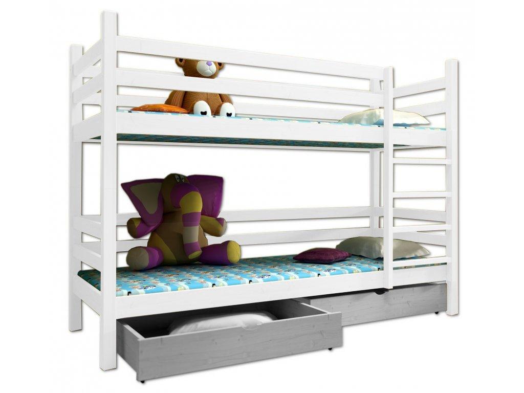 Poschodová posteľ PAUL 008 90x190 cm borovica masív - BIELA