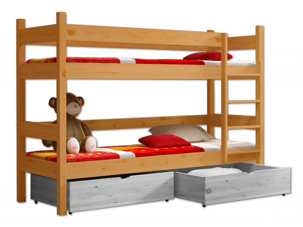 Poschodová posteľ PETR 002 - 90x190 cm borovica masív - JELŠA