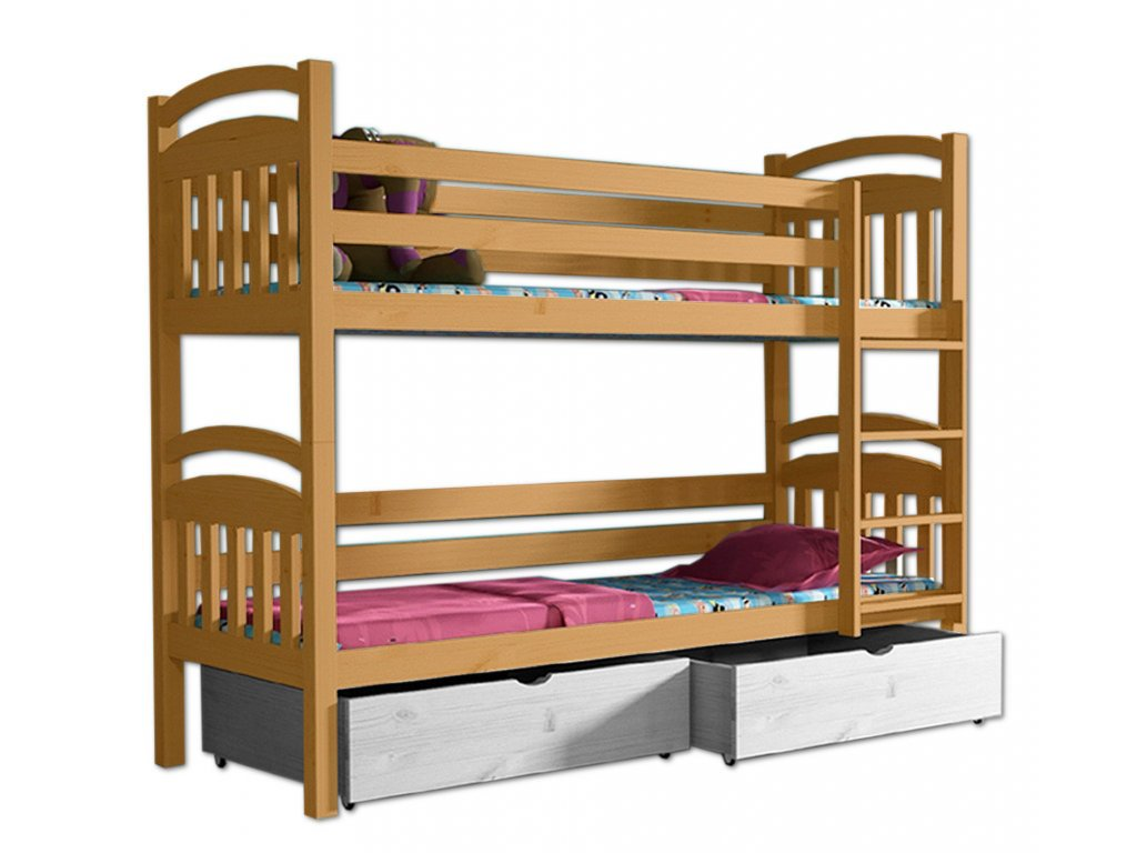 Poschodová posteľ PAVLA 003 90x190 cm borovica masív - JELŠA