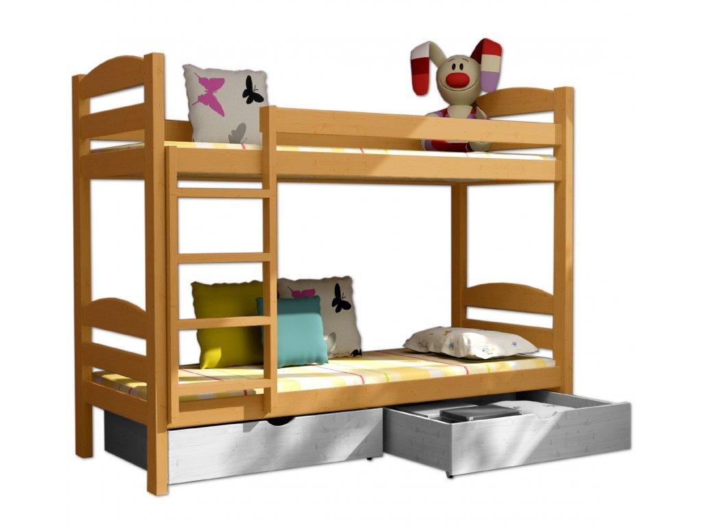 Poschodová posteľ PATRICIE 004 90x190 cm borovica masív - JELŠA
