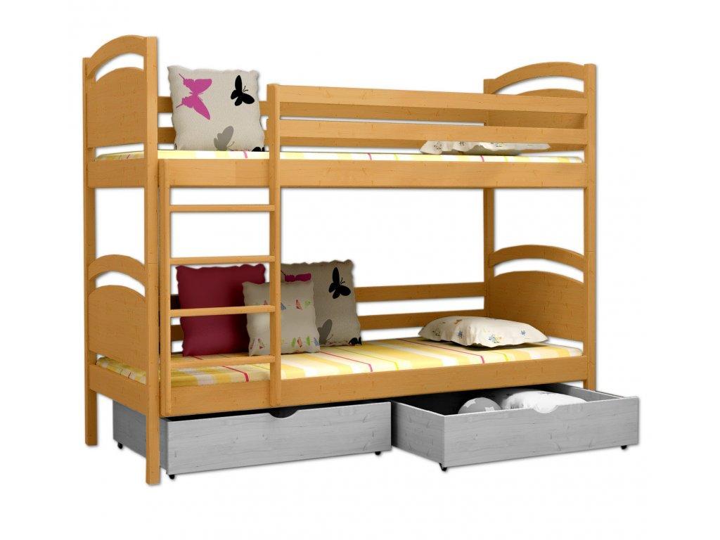 Poschodová posteľ POKER 006 90x190 cm borovica masív - JELŠA