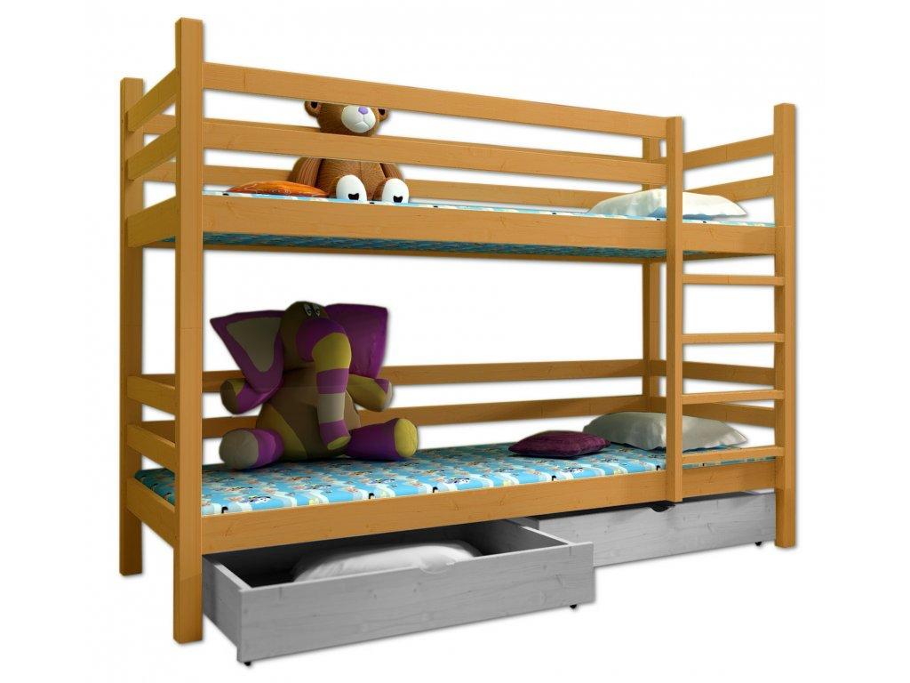 Poschodová posteľ PAUL 008 90x190 cm borovica masív - JELŠA