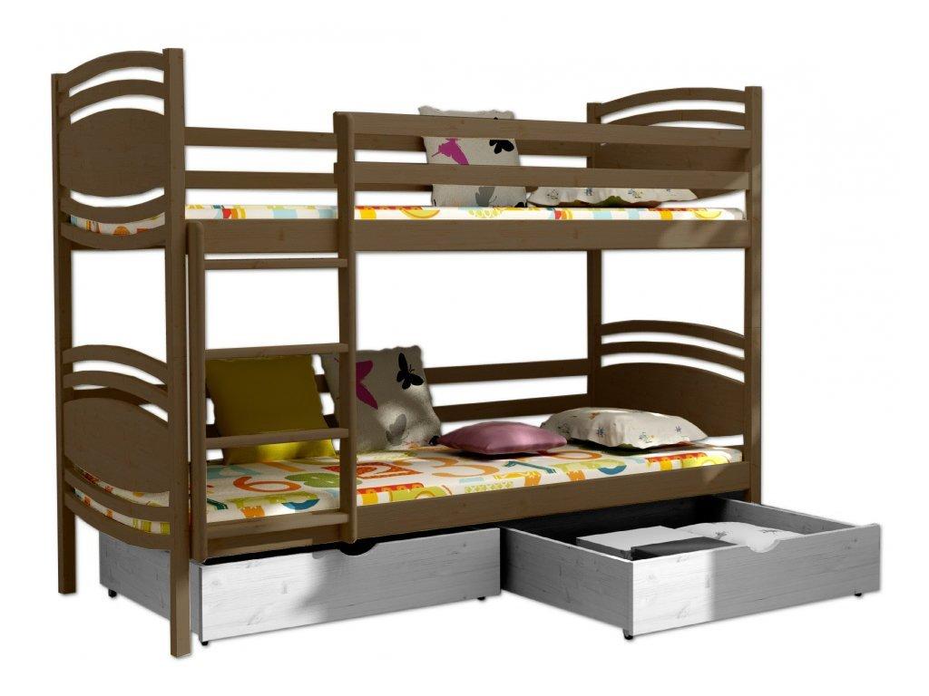 Poschodová posteľ PATRIK 001 90x190 cm borovica masív - DUB