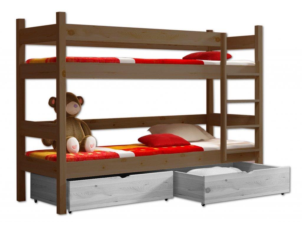 Poschodová posteľ PETR 002 - 90x190 cm borovica masív - DUB