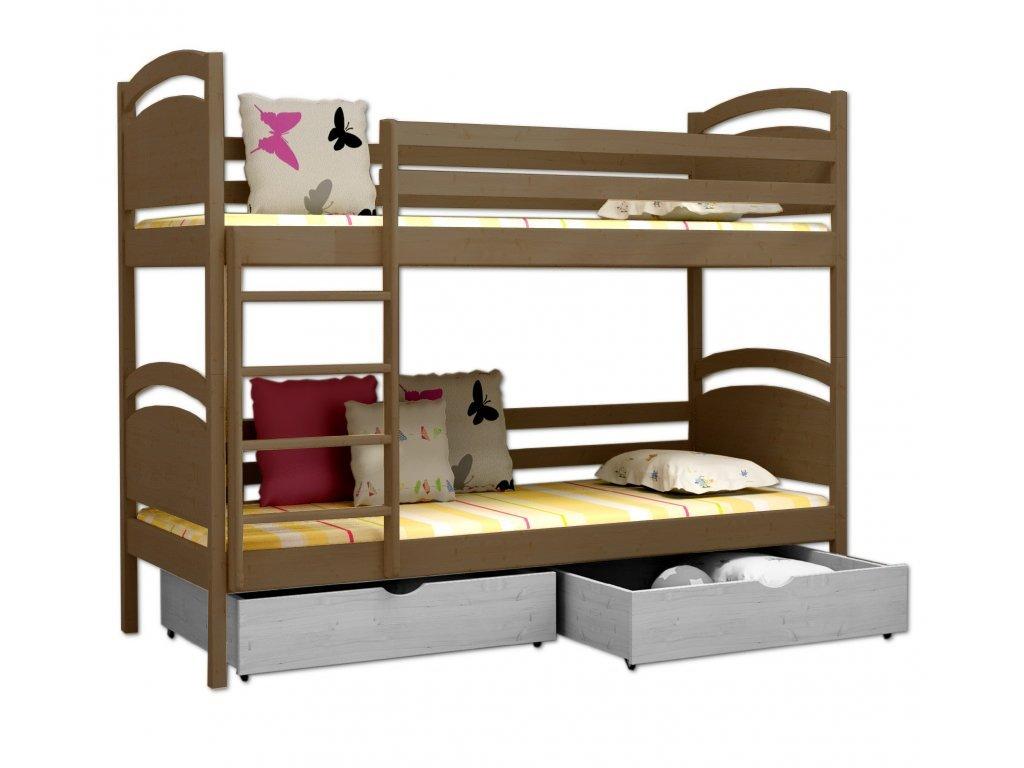 Poschodová posteľ POKER 006 90x190 cm borovica masív - DUB