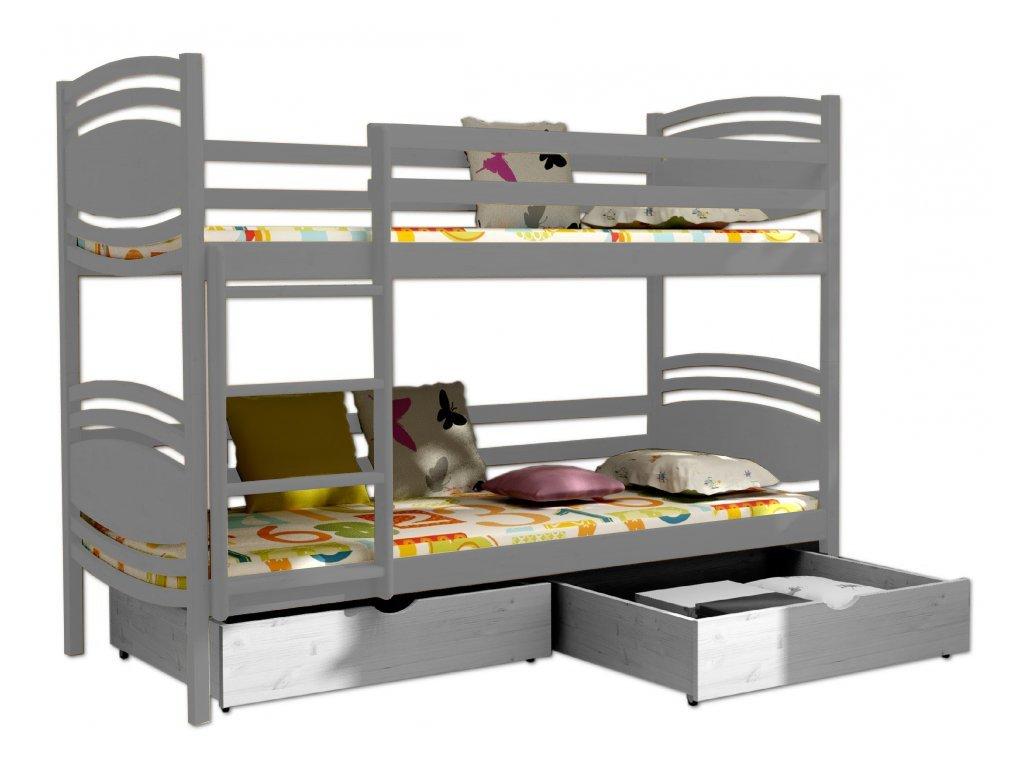 Poschodová posteľ PATRIK 001 90x190 cm borovica masív - SIVÁ