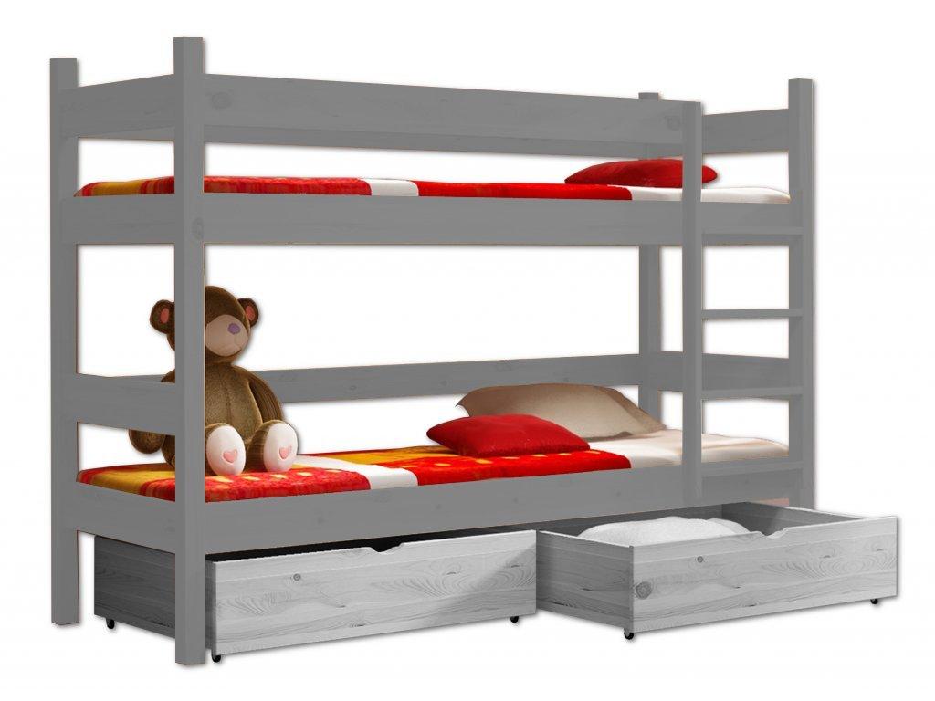 Poschodová posteľ PETR 002 - 90x190 cm borovica masív - SIVÁ
