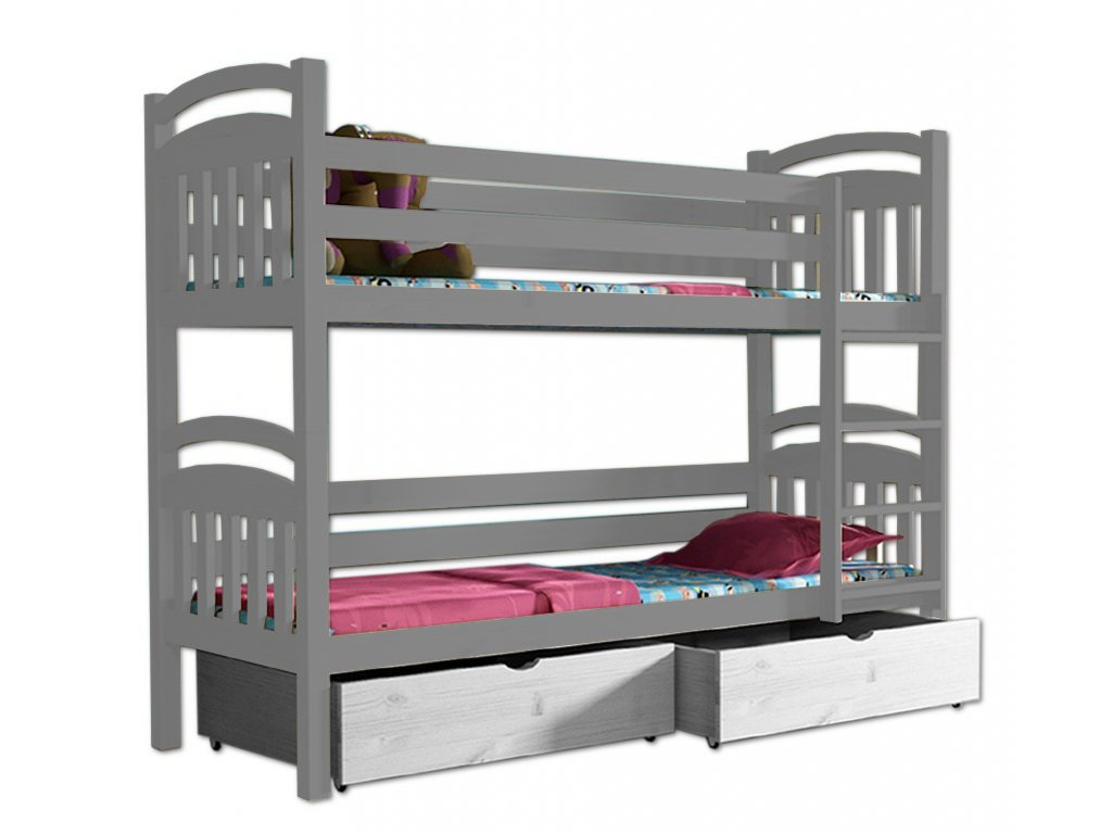 Poschodová posteľ PAVLA 003 90x190 cm borovica masív - SIVÁ