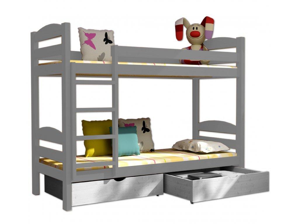 Poschodová posteľ PATRICIE 004 90x190 cm borovica masív - SIVÁ