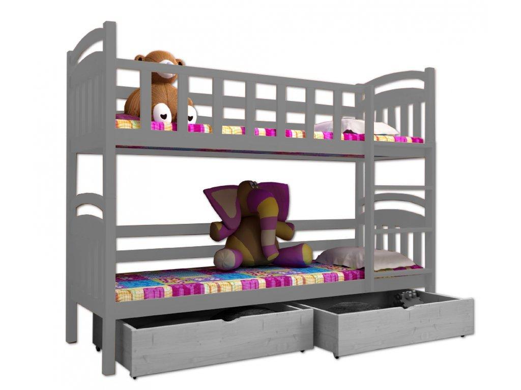 Poschodová posteľ PAVEL 005 90x190 cm borovica masív - SIVÁ