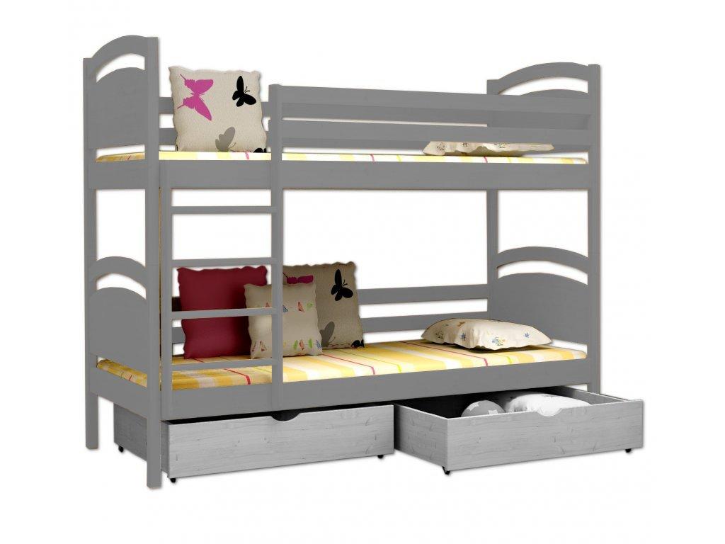 Poschodová posteľ POKER 006 90x190 cm borovica masív - SIVÁ