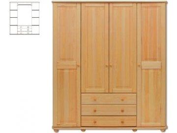 Veľká drevená šatníková skriňa KIK 129 borovica masív