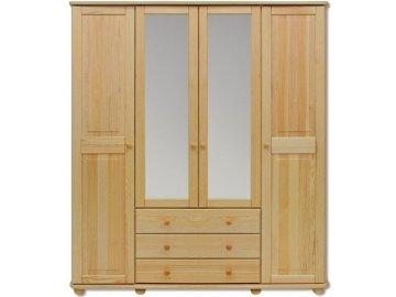 Veľká drevená šatníková skriňa so zrkadlom KIK 130 borovica masív