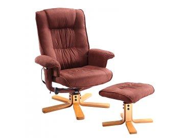 8337c98c9436 Masážne a relaxačné kreslo + podnožka Hnedé SKLADOM