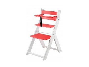 LUCA KOMBI L04 jedálenská stolička s bielou / červenou farbou s ergonomickým sedením
