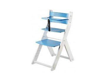 LUCA KOMBI L03 jedálenská stolička v bielej / modrej farby s ergonomickým sedením