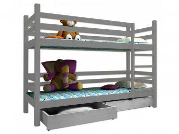 Poschodová posteľ PAUL 008 90x200 cm borovica masív - SIVÁ