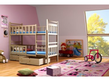 Poschodová posteľ PAKO 009 80x180 cm borovica masív