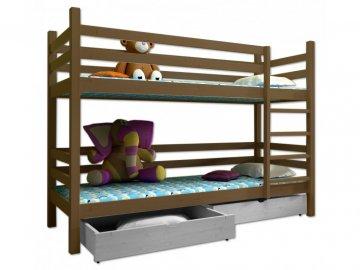 Poschodová posteľ PAUL 008 80x180 cm borovica masív - DUB