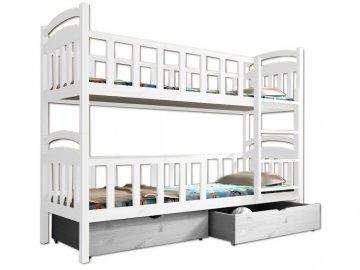 Poschodová posteľ PAULA 007 90x190 cm borovica masív - BIELA