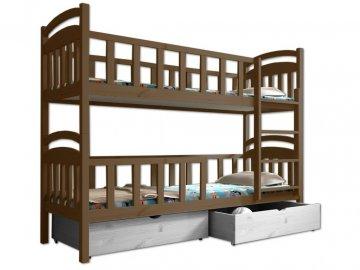 Poschodová posteľ PAULA 007 90x190 cm borovica masív - DUB