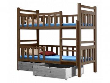 Poschodová posteľ PAKO 009 90x190 cm borovica masív - DUB