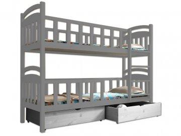 Poschodová posteľ PAULA 007 90x190 cm borovica masív - SIVÁ