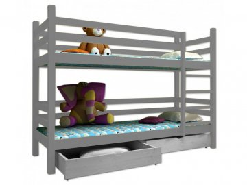 Poschodová posteľ PAUL 008 90x190 cm borovica masív - SIVÁ