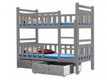Poschodová posteľ PAKO 009 90x190 cm borovica masív - SIVÁ