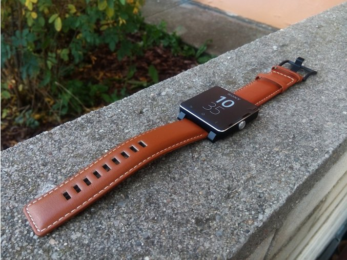 Sony SmartWatch SW2 - hnědý kožený náramek
