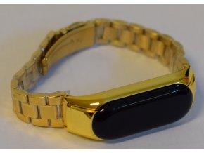 Xiaomi MiBand 3 / MiBand 4  luxusní ocelový náramek tříčlenný Zlatá