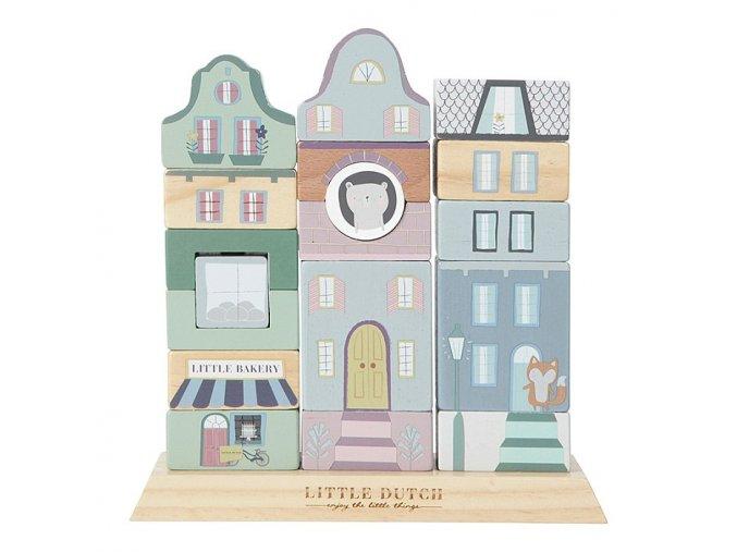 Dřevěné nasazovací domečky modré Little Dutch