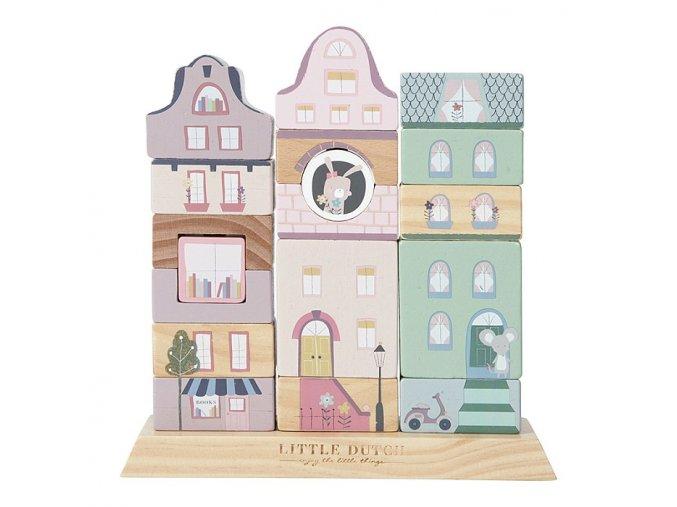 Dřevěné nasazovací domečky růžové Little Dutch