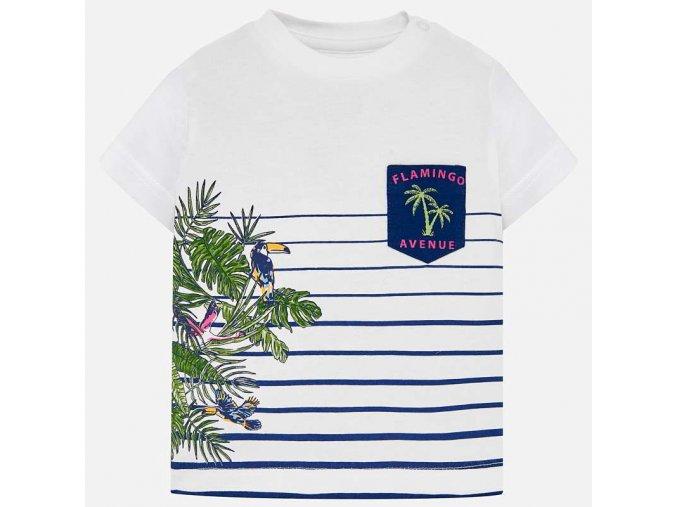 Tričko s krátkým rukávem pruhy Flamingo BABY Mayoral