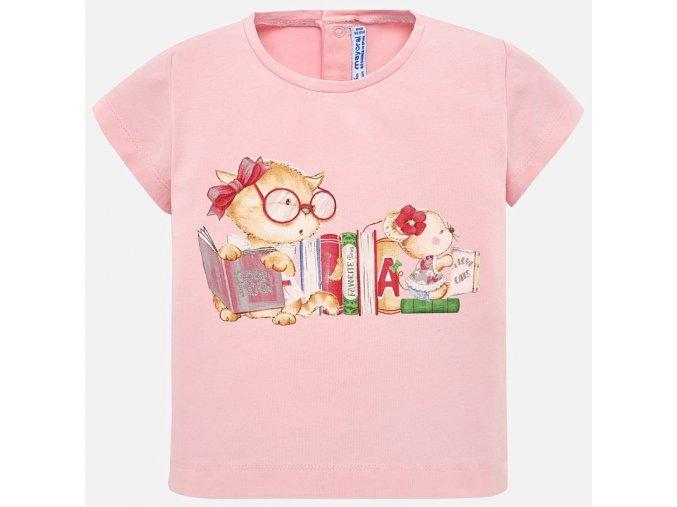 Tričko s krátkým rukávem kočička růžové BABY Mayoral