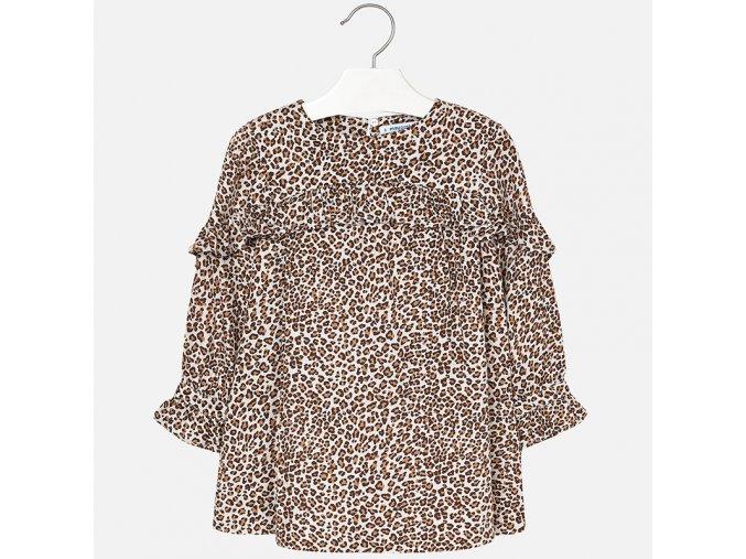 Šaty s dlouhým rukávem viskózové leopard MINI Mayoral