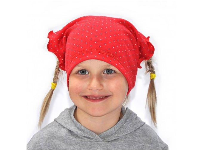 Dětský šátek puntík - červená
